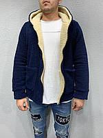 Мужская двосторонняя кофта на меху на молнии (синего цвета)