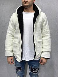Мужская двосторонняя кофта на меху на молнии (белого цвета)