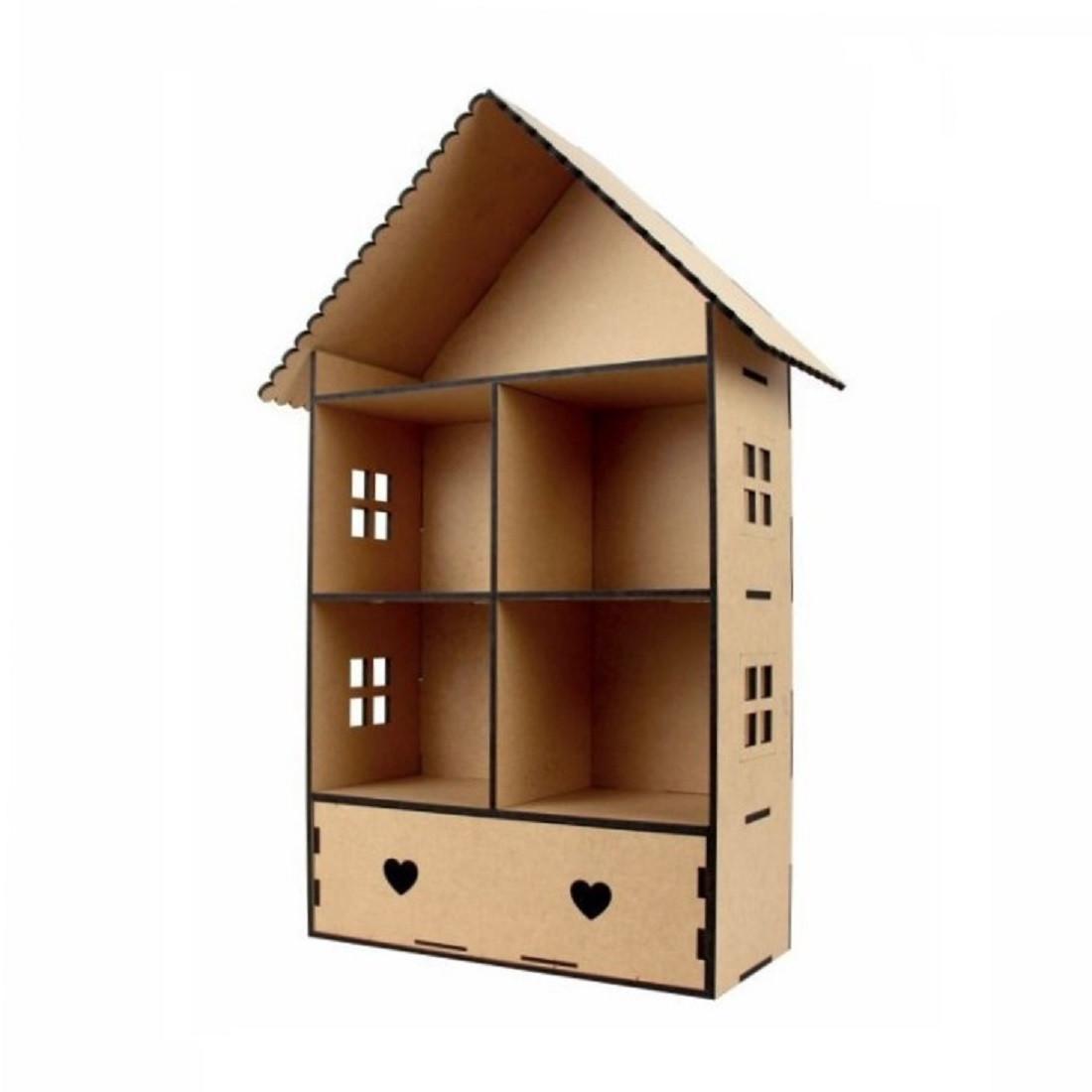 Кукольный домик Классический 2-х этажный с ящиком МДФ, 70х37х17см.