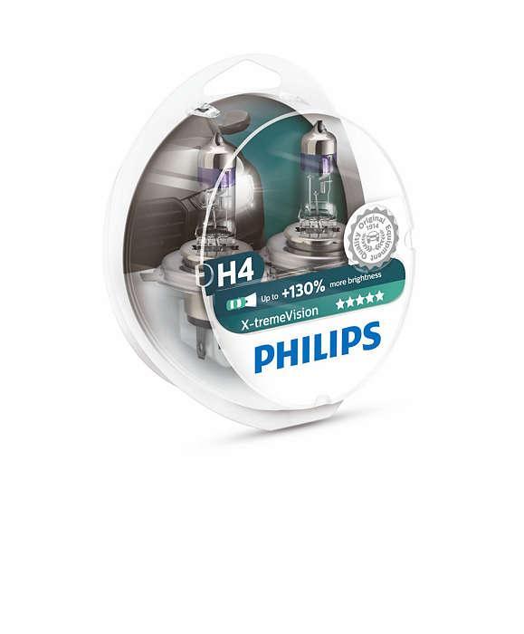 Комплект галогеновых ламп Philips H4 X-treme Vision +130% 12v  60/55w