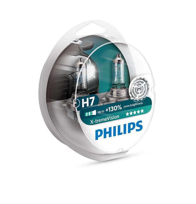 Комплект галогеновых ламп Philips H7 X-treme Vision +130% 12v/55w