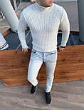 😜 Гольф - чоловічий класичний гольф з вертикальними рельєфними смужками молочний, фото 2