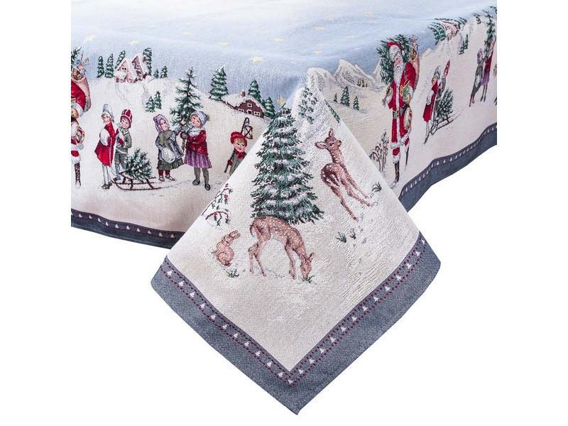 Скатертина новорічна гобеленова 240 х 137 см скатертина новорічна гобеленова