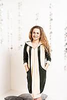 Велюровый халат с рельефными вставками