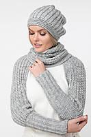 Серый шарф с рукавами (One Size, светло-серый меланж )