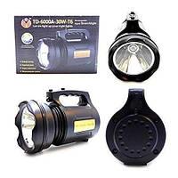 Фонарь переносной, прожектор TD-6000A-30W-T6, ЗУ 220V аккумулятор, фото 1