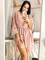 РАЗНЫЕ ЦВЕТА!!! Бархатный комплект халат и пижама с шортиками, шикарный набор одежды для дома