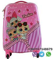 """Детский пластиковый чемодан на колесах для девочек """"кукла LOL"""" ручная кладь, дитячі чемодани, дитячі валізи, фото 1"""