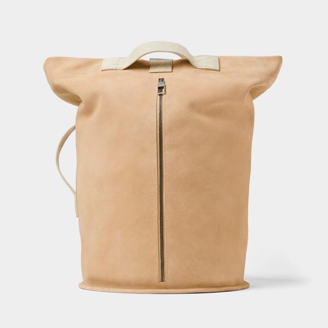 Мужской бежевый рюкзак из мягкой кожи Zara