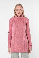 Розовый длинный свитер (42-44)