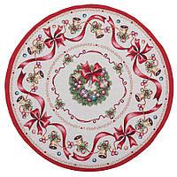 Скатерть новогодняя гобеленовая диаметр 90 см