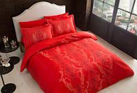 Постельное бельё евро размера Постельное белье Tac сатин Delux Mauna kirmizi v01 евро красный (код 1010339)