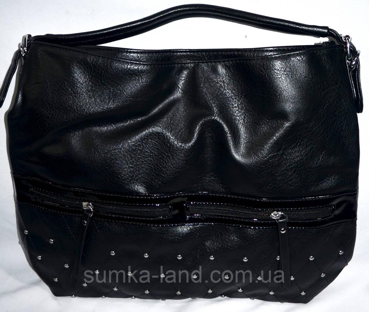 Женские сумки-торбочки из искусственной кожи на змейке 34*31 см (черная)