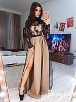 Платье в пол женское кружевное с фатиновой юбкой разные цвета Smb3931