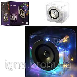 Колонка SG-1741C (24шт) куб12,5см,аккум, bluetooth, MP3, 2режима света,USBзаряд,в кор-ке, 16-17-15см