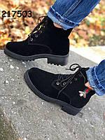 Женские зимние ботинки на шнурках, черные, 35