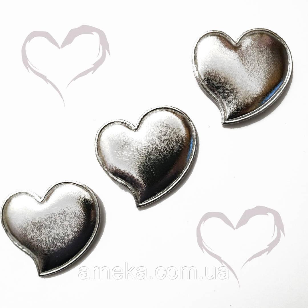 Патч сердечко из эко-кожи 4,7*4,5 см (серебро)