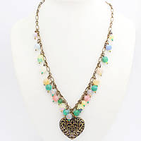 Ожерелье из Натурального Камня, Подвеска Сердце, Цвет: Разноцветный, Размер: Длина около 840мм, Бусины 8мм, (УТ000007406)