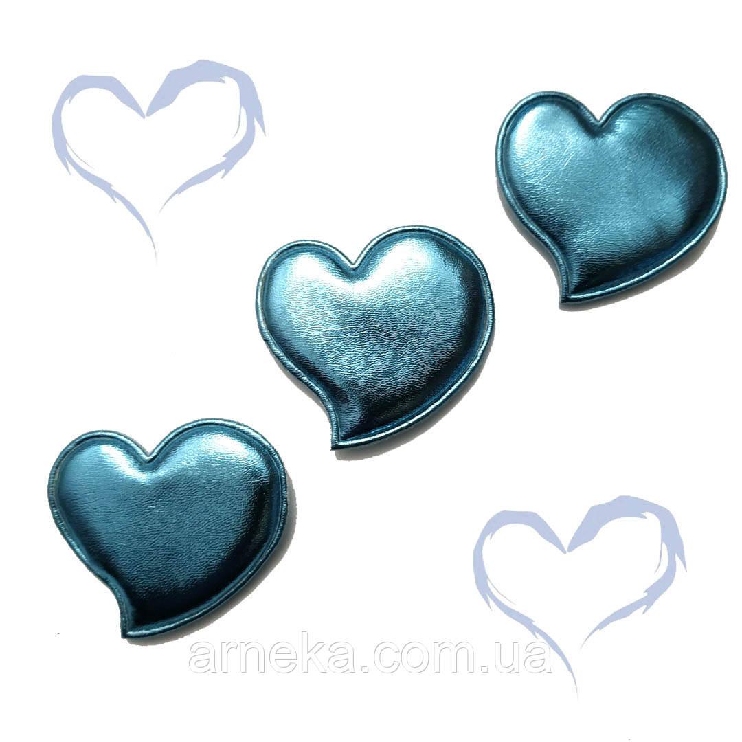 Патч сердечко из эко-кожи 4,7*4,5 см (голубое)