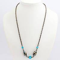 Ожерелье из Хрусталя, Цепочка с Бусинами, Цвет: Голубой, Размер: Длина около 580мм, Бусины 6 ~ 16мм, (УТ000007411)