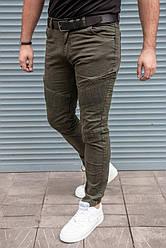 Мужские стильные джинсы зауженные с декор молниями, цвета хаки