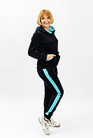 Женский велюровый спортивный костюм с лампасами черного цвета батальные размеры от производителя