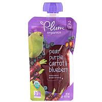 Детское пюре из черники, груши, моркови, (Organic Baby Food, Stage 2), Plum Organics, 113 г
