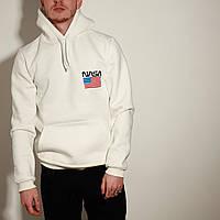 Худі толстовка з капюшоном чоловічий зимовий теплий білий з принтом Nasa (прапор), фото 1
