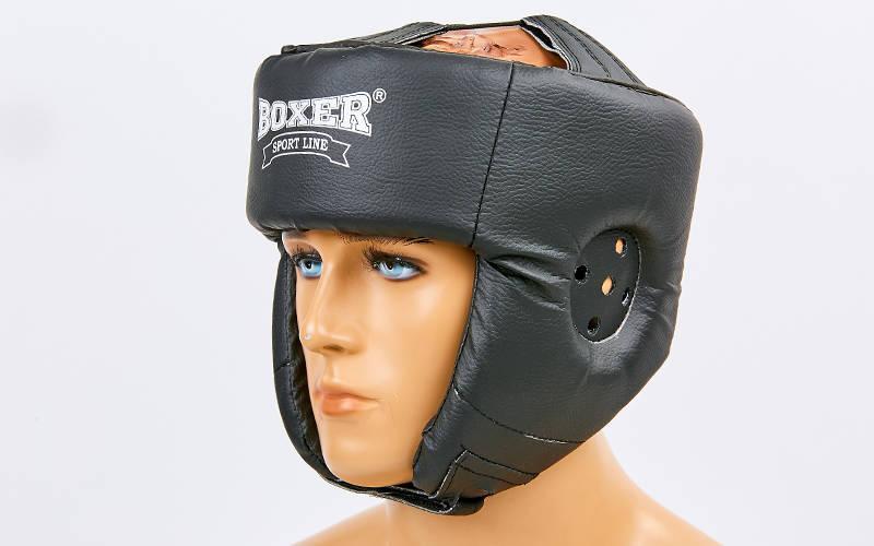 Шлем боксерский/для бокса BOXER, сверху шнуровка, винил, черный, L. УСПЕЙТЕ КУПИТЬ!!! 1 ШТ.!!!!