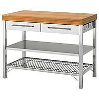 IKEA RIMFORSA Рабочий кухонный стол, нержавеющая сталь, бамбук, 120x63.5x92 см (903.992.84)