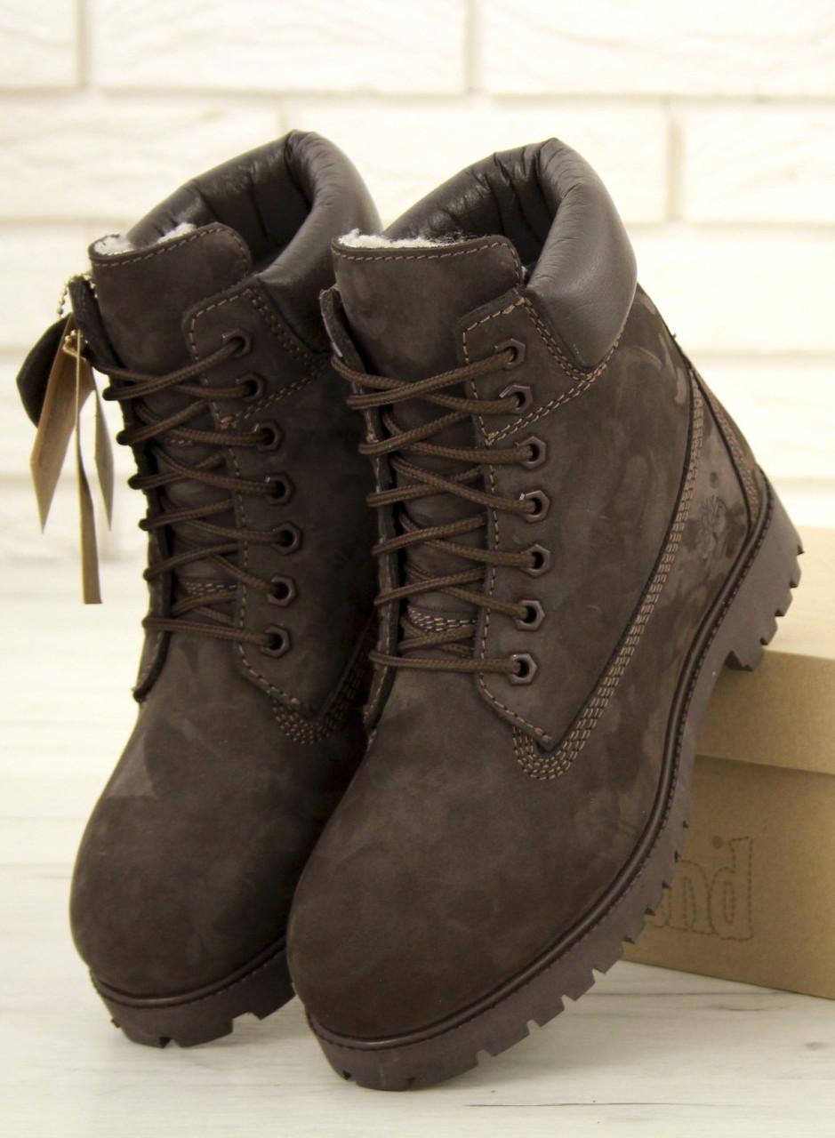 Мужские зимние Ботинки Timberland 6 inch Brown с мехом