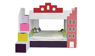 Двухъярусная детская кровать Амстердам со встроенным шкафом ящиками и полками вход слева Little Room Baby House (В1720:Ш