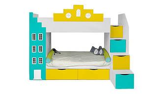 Двухъярусная детская кровать Амстердам со встроенным шкафом ящиками и полками вход справа Little Room Baby House (В1720: