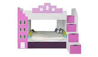 Двухъярусная детская кровать Амстердам со встроенным шкафом 3 спальным местом и полками вход справа Little Room Baby Hou