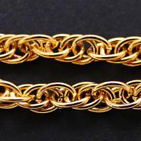 Цепь Плетение Веревка, Железная, Цвет: Золото, Звено: 3.5х1мм, (УТ000006038)