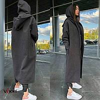 Пальто с капюшоном свободного кроя