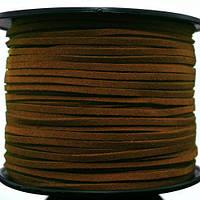 Шнур Замшевый, Цвет: Шоколадный, Размер: Ширина 3мм, Толщина 1.5мм, 90м/катушка, (УТ000006207)
