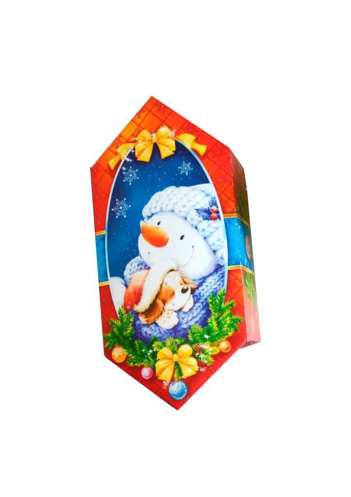 """Новогодняя подарочная коробочка для конфет и сладостей 150-200гр """"Сніговик"""" 100шт/уп"""