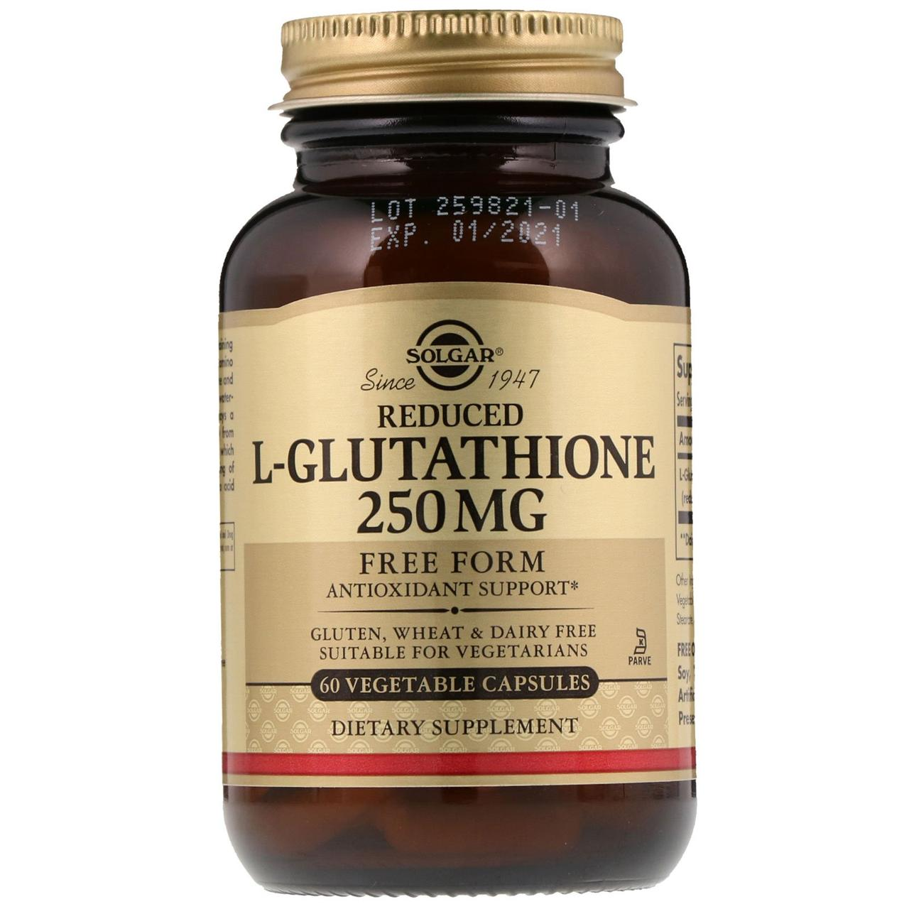 Глутатион, Reduced L-Glutathione, Solgar, 250 мг, 60 капсул