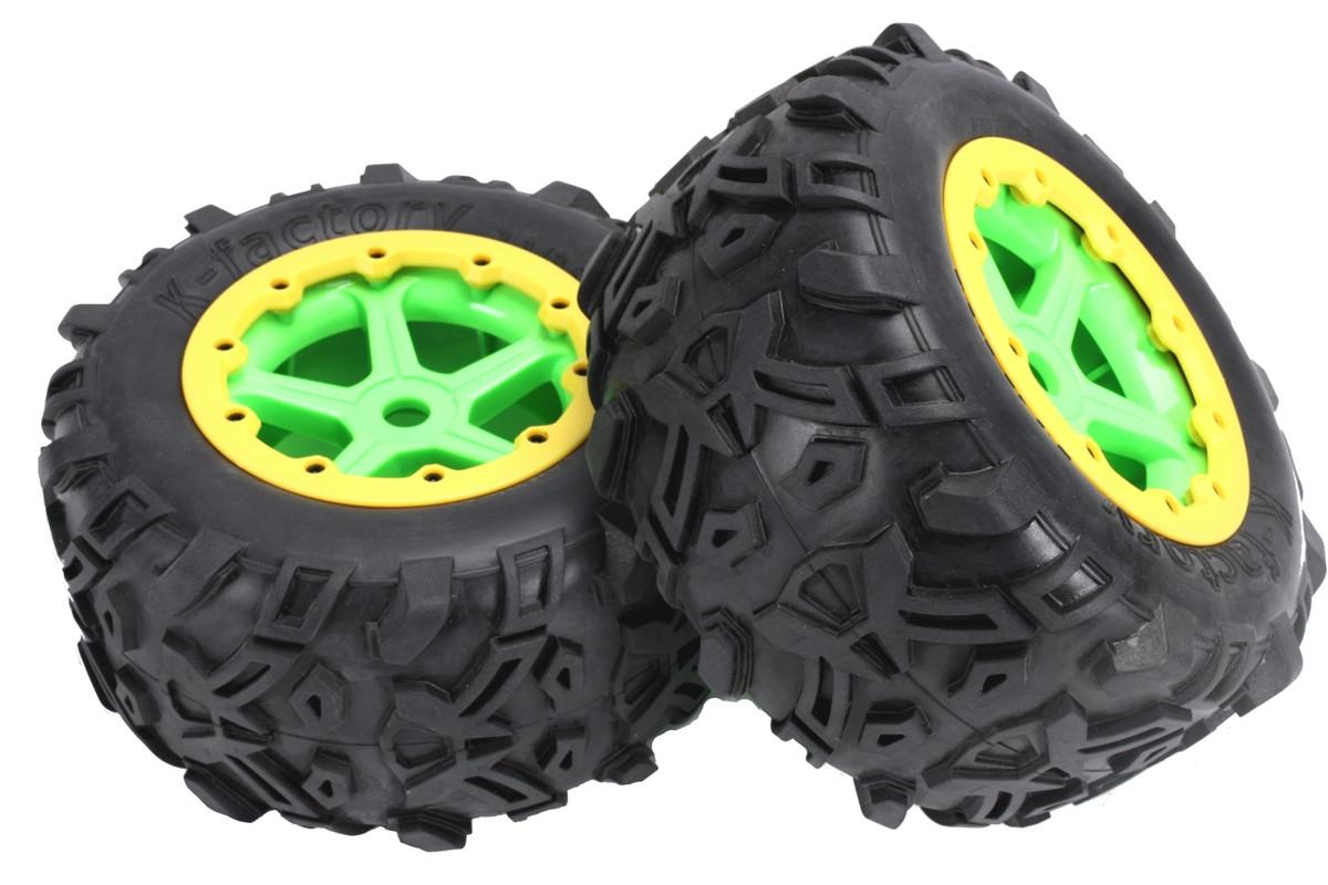 "Team Magic E6 Mounted Tire 7.1"" Size Pair Green"