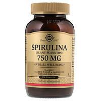 Спирулина, Spirulina, Solgar, 750 мг, 250 таблеток