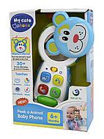 Мобильный телефон обучающий игрушка LT-3983/6 (1820206-7-8-9) 4 вида,батар ,свет,звук, в коробке 13*6*20см