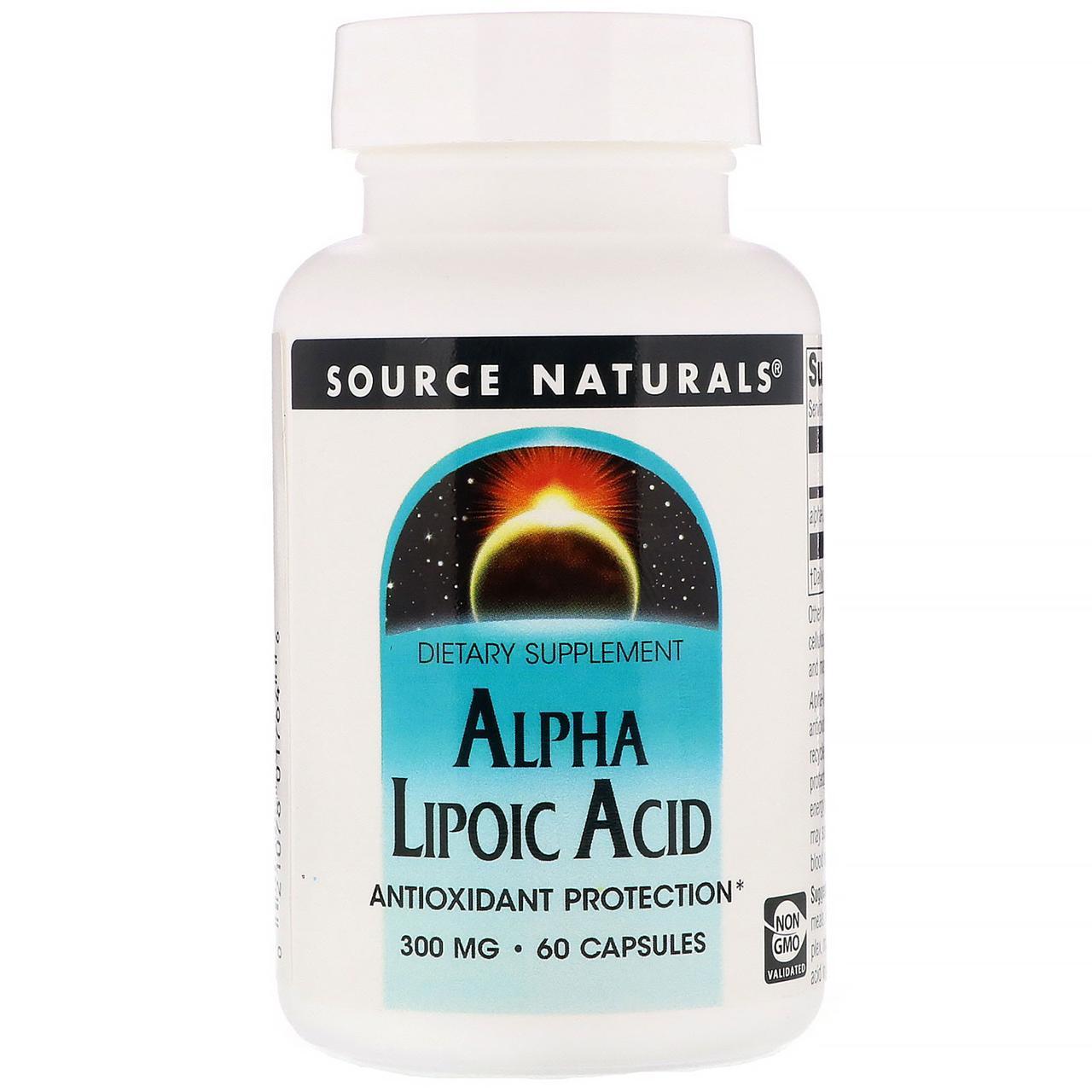Альфа-липоевая кислота, Source Naturals, 300 мг, 60 кап.