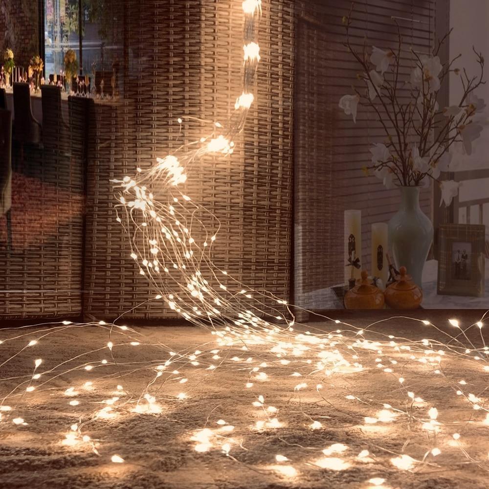 """Гирлянда """"Конский хвост"""" 160 LED: 8 линий по 1.1 м, 20 диодов/ нить, цвет - тёпло-белый, динамичный режим"""