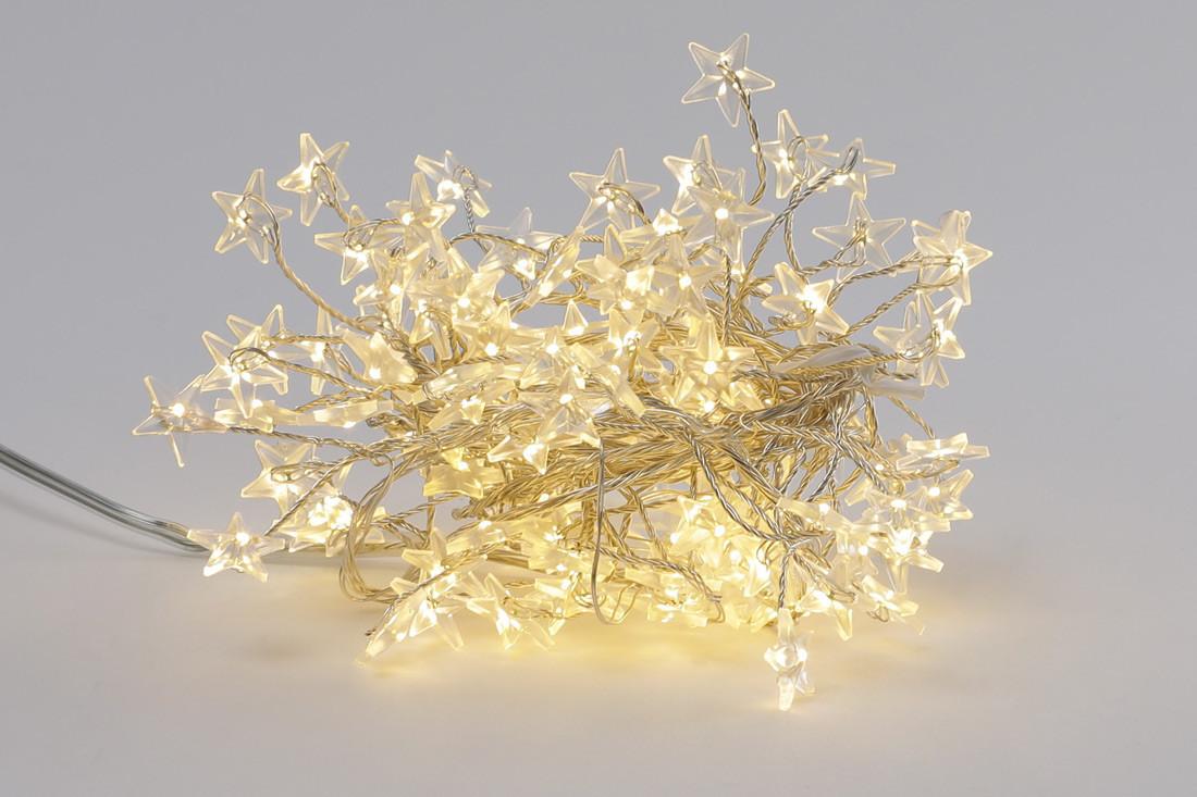 """Гирлянда """"Звезда"""" кластер, нить с декором, 120 мини-LED: 1 линия 1,5 метра, тепло-белый, фото 1"""