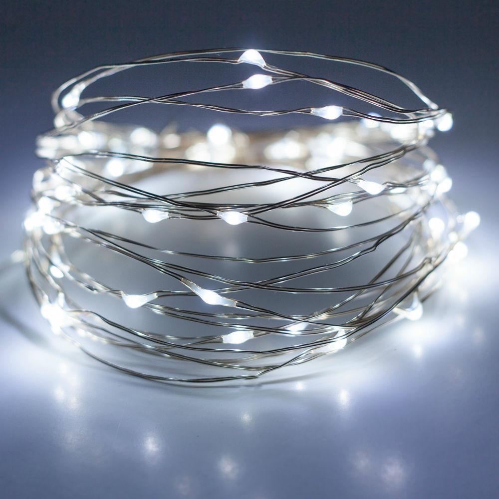 Гирлянда на батарейках 2м, новогодние украшения для декора, цвет белый, фото 1