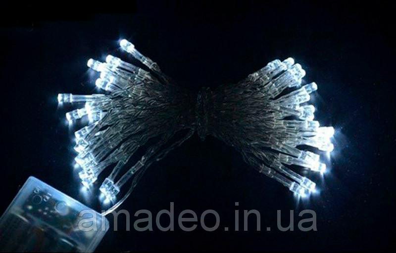 Гирлянда на батарейках, 40 led 4м новогодние украшения - белая, фото 1