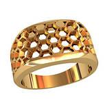 Кольцо мужское серебряное Соты, фото 2