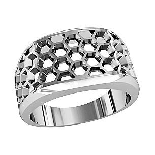 Кольцо мужское серебряное Соты