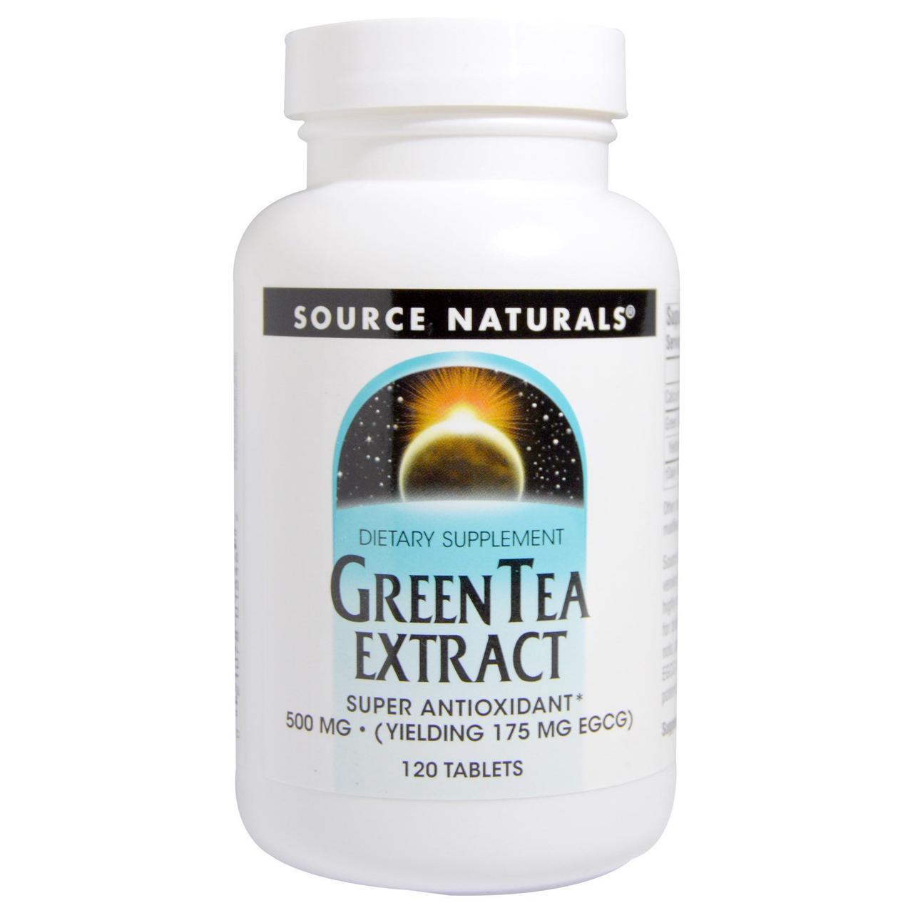 Зеленый чай экстракт (Green Tea Extract), Source Naturals, 500мг, 120 таб.